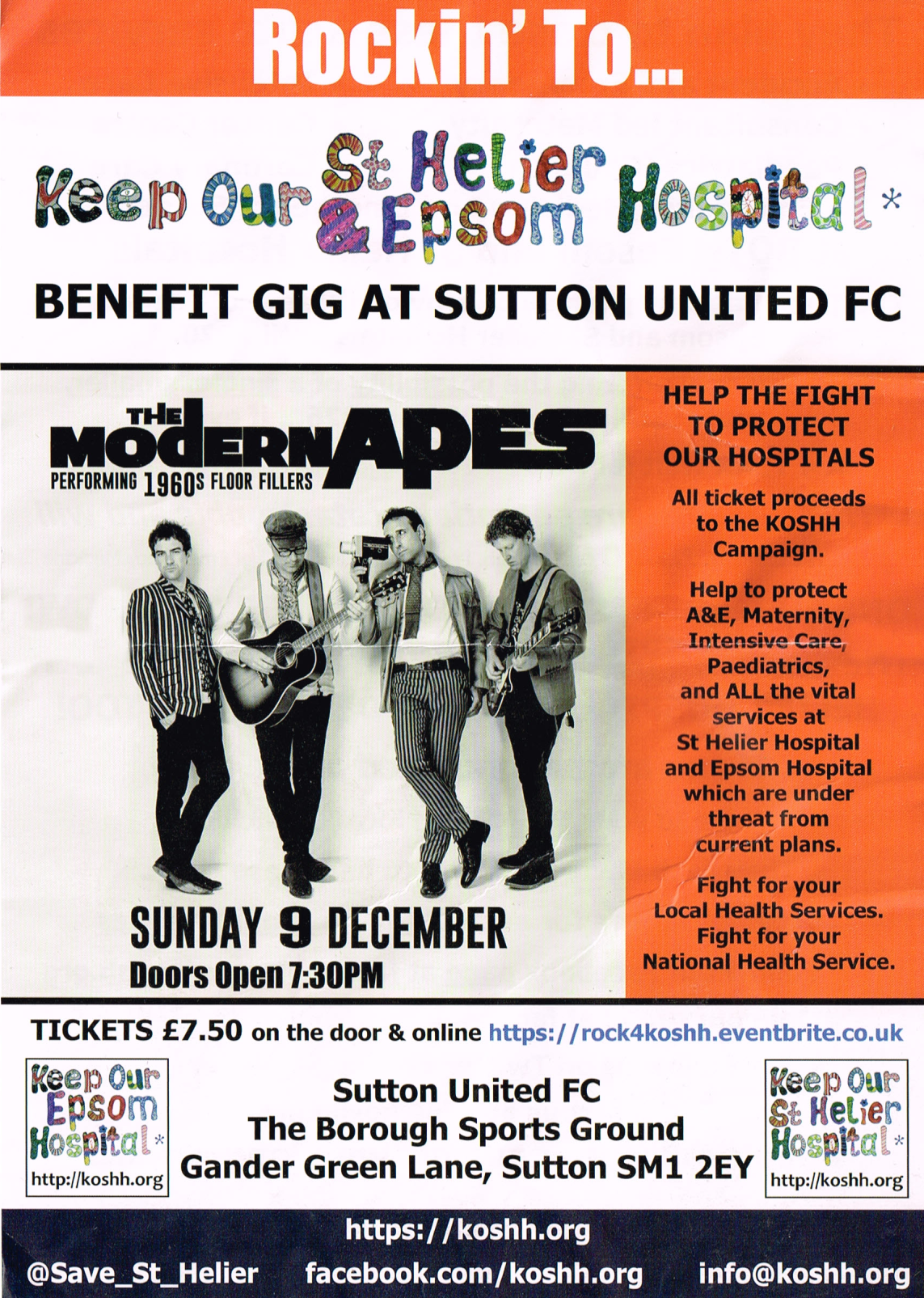 Keep Our St Helier Hospital Benfit Gig At Sutton United FC