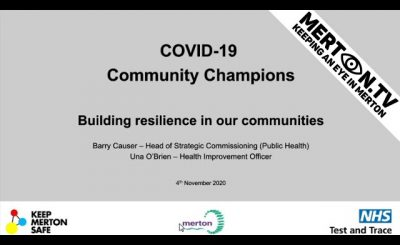 COVID 19 Community Champions Drop in Meeting 4 November 2020