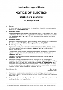 Notice of Election St Helier