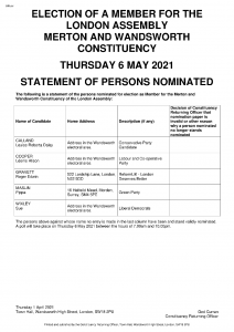 Statement of Persons Nominated - Merton Wandsworth constituency