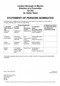Statement of Persons Nominated - St Helier By-Election 6 May 2021